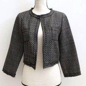 Olsenboye Tweed Crop Jacket Black Medium
